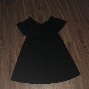 HM off the shoulder black mini dress